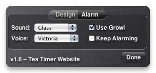 Tea Timer 1.6 – Alarm Preferences
