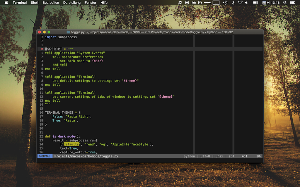 MacOS dark mode with a dark Terminal profile and a dark Vim theme.
